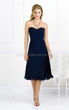 Tea Length Strapless Chiffon Shirred Bridesmaid Dresses