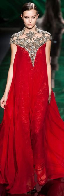 Modern fairytale / karen cox / The Red Queen. Monique Lhuillier FALL 2013 RTW - NYFW red gown with silver beading