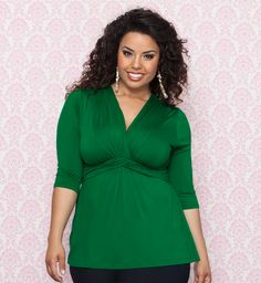 Who doesn't love a bold fresh green color for Spring and Summer?  The Plus Size Trina Top by Kiyonna pairs well with some denim cuffed cropped jeans for a perfectly casual chic outfit.  Or pair it with a sleek black or taupe pencil skirt for the office. #plussize