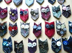 harrysdesk owl tutorial DIY by allyadeney on Etsy Tie Crafts, Button Crafts, Fabric Crafts, Sewing Crafts, Sewing Projects, Arts And Crafts, Necktie Quilt, Old Ties, Creation Couture