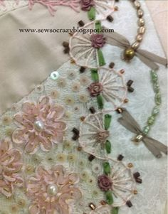 Pastel / Almost Monochromatic Crazy Quilting Embroidery Stitches - Blog post filled with gorgeous up close photos by Sew So Crazy!© - she has many other posts with crazy quilt stitching photos from other quilts - beautiful work