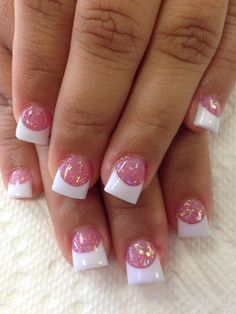 Popular Nail Designs Acrylic Nail Tips Designs New Love the Pink Glitter with White Tips Nails Weddi Nails Yellow, Cute Pink Nails, Pink Nail Art, White Nails, Pink Tip Nails, Nail Art Designs, Acrylic Nail Designs, Solar Nail Designs, White Tip Nail Designs