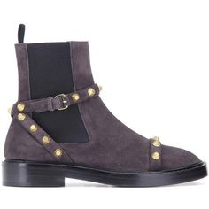 Balenciaga Giant Suede Chelsea Boots (20.950 ARS) ❤ liked on Polyvore featuring shoes, boots, ankle booties, grey suede boots, gray boots, suede booties, gray suede boots and chelsea boots
