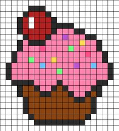 Cupcake Perler Bead Pattern | Perler Bead Patterns | Food Fuse Bead Patterns