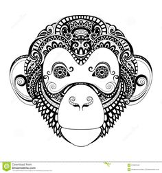 Vector Ornate Monkey Head. Patterned Tribal Monochrome Design. Symbol of the Year 2016 by Chinese Horoscope.