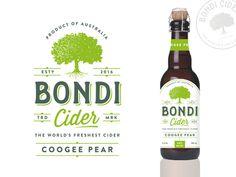 Bondi Cider designed by Zvucifantasticno. Beer Logo Design, Label Design, Packaging Design, Graphic Design, Vintage Packaging, Beer Packaging, Apple Acid, Ginger Beer, Packaging