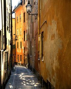 Landscape Photography, Stockholm Alley, Sunlit rust orange, Scandinavia, Travel Art, Euro wall decor, Ancient Architecture , Endless Summer