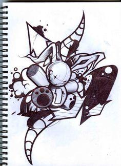 I have Christened the new blackbook with this one. Graffiti Doodles, Graffiti Cartoons, Graffiti Characters, Graffiti Drawing, Graffiti Lettering, Pencil Art Drawings, Street Art Graffiti, Art Drawings Sketches, Tattoo Drawings