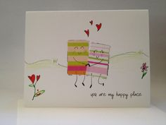"""OOAK You are my happy place hand drawn card made by ladybugonaleaf (me! yay!), $4.00 this one is more """"love"""" themed :0)"""