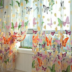 Aliexpress.com : Buy Romantic Bedroom Cheap Ready Made Finished Organza Child Window Cortina Butterfly Curtain for Living Room Home Decor from Reliable curtain suppliers on lotsgoods88