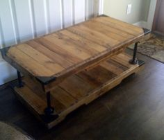 Recycled Wood Table with Galvanized Steel Piping...