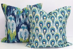 Blue Green PILLOWS.SET of TWO.20x20 inch.Pillow Covers.Printed Fabric Front and Back.Peacock..Ikat.Coordinates.Coordinating Pillows