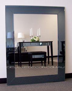 modern bevelled smoke rectangle wall mirror 4519g x 920 mm http