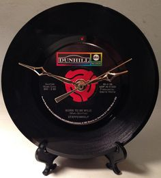 """Recycled STEPPENWOLF 7"""" Record / Born To Be Wild / Record Clock"""