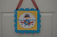 Blue and Yellow Airplane Pilot Happy Birthday Door Sign