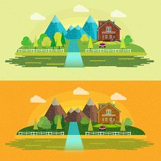 Flat Design Nature Landscape Illustration  - Landscapes Nature
