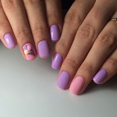 Accurate nails, Beautiful new year's nail, Ice-cream nails, Ideas of gentle nails, Ideas of lilac nails, Natural nails, Pink manicure ideas, Short nails 2017