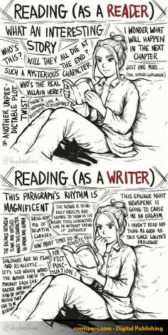 Reading as a reader vs. Reading as a writer (caricature) - U .-Lesen als Leser vs. Lesen als Schriftsteller (Karikatur) – UNTERHALTUN Reading as a reader vs. Reading as a writer (caricature) – ENTERTAINMENT - Writing Humor, Book Writing Tips, Writing Quotes, Writing Prompts, Book Quotes, Fiction Writing, Book Writer, Writing Images, I Am A Writer
