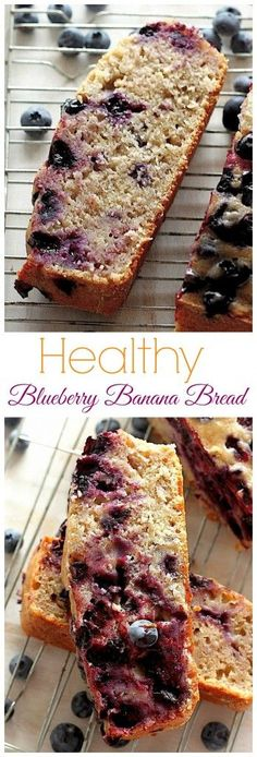 Healthy Blueberry Banana Bread - so moist, tender, and tasty-tasty, you'd never even GUESS it's lightened up!!!