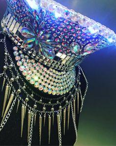 This item is unavailable Burning Man Fashion, Burning Man Outfits, Steampunk, Kandi Bracelets, Festival Fashion, Festival Hats, Festival Outfits, Metal Jewelry, Chain Jewelry
