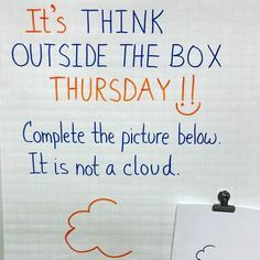 "Here's an idea (from to try in your classroom tomorrow. 😊 ""From popcorn to a Dogman to a flexible mind ❤️ to a whale, a gingerbread man, a piece of broccoli and so much more, creativity was flowing today! Thinking Day, Thinking Outside The Box, Creative Thinking, Future Classroom, School Classroom, Classroom Ideas, Classroom Organization, Classroom Management, Bell Work"