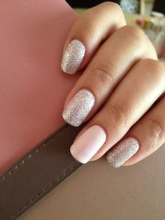 Silver and Pink Nails. #silver