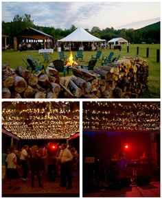An outdoor Adirondack wedding with Adirondack chairs around a bonfire and a band playing under an open-air pavilion.