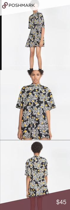 Cute black floral mini Zara dress Great condition. Lightly used. Flared sleeves and hem. Minor turtle neck chest 18 tightens underneath chest 15 length 33.5 lovely dress Zara Dresses Mini
