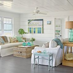 Use Watery Hues - 40 Beautiful Beachy Living Rooms - Coastal Living - GORGEOUS!! - PERFECT STYLING FOR A BEACH HOUSE!! - LOVE THE 'BEACHY MIX' OF COLOURS!! - LOOKS JUST FABULOUS!! #️⃣
