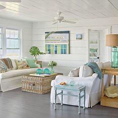 Modern Decor Living Room Ideas Oak Furniture Charming Small Shabby Chic Beach Cottage Coastal 15 Spring Decorating