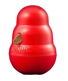 KONG Wobbler Treat Dispenser: For treats or for meals! Use this tool to entertain your dog, or to slow down his eating habits. I can't decide who enjoys this one more. me or the dog! Dog Treat Dispenser, Kong Company, Pet Steps, Interactive Dog Toys, Designer Dog Clothes, Pet Paws, Toy Puppies, Dog Supplies, Dog Design