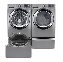 Ultra Large Capacity Front Load Washer, SideKick Pedestal Washer, and Dryer (GAS) with Laundry Pedestal Package -