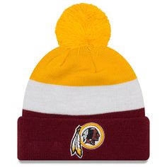 buy popular bacc4 25ee6 Men s Washington Redskins New Era Gold Burgundy Triblock Cuffed Knit Hat  with Pom, Your
