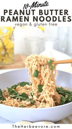 Peanut Butter Ramen, Lunch Recipes, Healthy Recipes, Easy Vegan Dinner, Ramen Noodles, Vegan Foods, Vegan Dinners, Plant Based Recipes, Asian Recipes