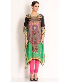 Manish Arora Multi-Coloured Kaftan With Floral Prints And An Embellished Neckline., http://www.snapdeal.com/product/manish-arora-multi-cotton-kaftan/31146367