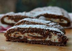Rotolo di crostata al cacao con crema di ricotta e cioccolato