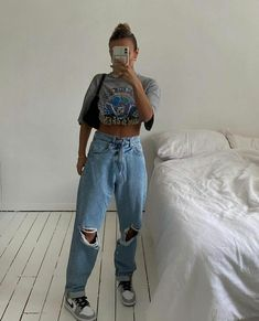 Neue Outfits, Edgy Outfits, Teen Fashion Outfits, Retro Outfits, Cute Casual Outfits, Cute Fashion, Summer Outfits, Fashion Spring, T Shirt Streetwear
