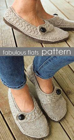 Knitting Pattern for Fabulous Flats Slippers - These slippers boast a stylish ca. Knitting Pattern for Fabulous Flats Slippers - These slippers boast a stylish cabled band, seamless construction, and an. Knit Slippers Free Pattern, Knitted Slippers, Slipper Socks, Knitting Patterns Free, Free Knitting, Crochet Chain, Crochet Shoes, Double Knitting, Knitting Socks
