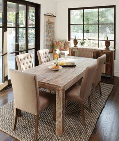 Farm house tables- love these chairs!