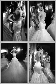 Mermaid low back wedding dresses