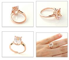 Emerald Cut Morganite Ring Rose Gold Custom by RareEarth. I'm completely in love with the fleur de lis design in the setting. again, like the metal work Gemstone Jewelry, Jewelry Rings, Jewelery, Wedding Jewelry, Wedding Rings, Commitment Rings, Or Rose, Rose Gold, Morganite Ring