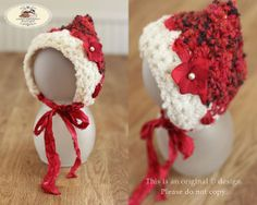 Limited Edition Newborns crochet pixie bonnet hat with silk sari ribbon ties embellished with a bead & artificial Christmas flower. Girls photo prop. by AndreasPropBoutique