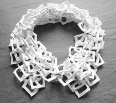 Porcelain Collar Necklace with interlocking square links - contemporary jewellery design; Porcelain Jewelry, Ceramic Jewelry, Porcelain Ceramics, Polymer Clay Jewelry, Jewelry Crafts, Jewelry Art, Silver Jewelry, Jewelry Design, Contemporary Jewellery