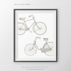 Bicycle Wall Decor Gift For Cyclist Bike Art by BlackstarPress