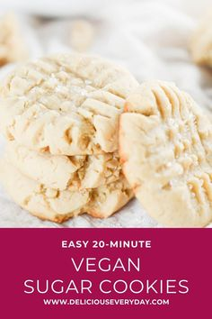 These vegan sugar cookies are so soft and sugary, no one would ever guess they& completely plant based. Plus, they& easy to put together in under 20 minutes! Best Vegan Cookies, Vegan Chocolate Cookies, Vegan Peanut Butter Cookies, Gourmet Cookies, Sugar Cookies Recipe, Easy Holiday Recipes, Dinner Recipes, Dessert Recipes, Christmas Recipes