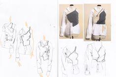 Fashion Sketchbook - fashion sketches; white shirt development; fashion portfolio // Vy Cutting