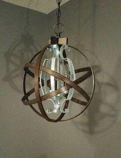 Industrial light fixture, industrial chandelier, hoop orb light, hoop orb Chandelier, orb light fixture https://www.etsy.com/listing/272216830/orb-chandelier-wood-orb-chandelier-orb
