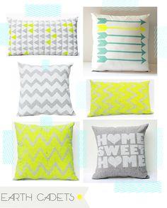 Vibrant neon cushions by earth cadets. image via decor8