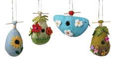 Felted wool birdhouses. Small birds can actually use these! Totally cute and fair-trade as well.