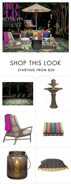 """""""Color Theory ~ Bold Retreats & Bright Rugs"""" by eyesondesign ❤ liked on Polyvore featuring interior, interiors, interior design, home, home decor, interior decorating, Sunbrella, Thos. Baker, McGuire and Ziggy"""